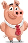 Pig with a Tie Cartoon Vector Character AKA Smokey Hans - Patient