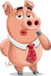 Pig with a Tie Cartoon Vector Character AKA Smokey Hans - Making Face