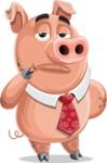 Pig with a Tie Cartoon Vector Character AKA Smokey Hans - Bored