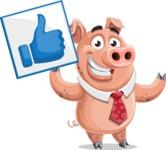 Pig with a Tie Cartoon Vector Character AKA Smokey Hans - Thumbs Up