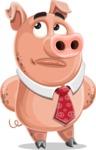 Pig with a Tie Cartoon Vector Character AKA Smokey Hans - Bored 2