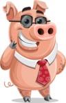Pig with a Tie Cartoon Vector Character AKA Smokey Hans - Sunglasses