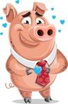 Pig with a Tie Cartoon Vector Character AKA Smokey Hans - Show Love