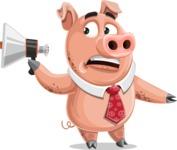 Pig with a Tie Cartoon Vector Character AKA Smokey Hans - Loudspeaker