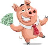 Pig with a Tie Cartoon Vector Character AKA Smokey Hans - Show me the Money