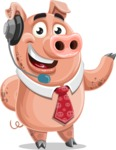 Pig with a Tie Cartoon Vector Character AKA Smokey Hans - Support