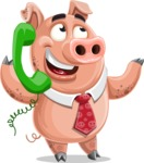 Pig with a Tie Cartoon Vector Character AKA Smokey Hans - Support 2