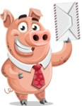 Pig with a Tie Cartoon Vector Character AKA Smokey Hans - Letter
