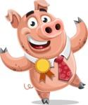 Pig with a Tie Cartoon Vector Character AKA Smokey Hans - Ribbon