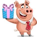 Pig with a Tie Cartoon Vector Character AKA Smokey Hans - Gift