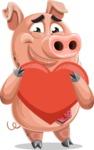 Pig with a Tie Cartoon Vector Character AKA Smokey Hans - Love