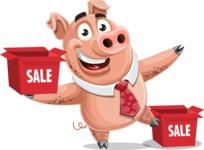 Pig with a Tie Cartoon Vector Character AKA Smokey Hans - Sale