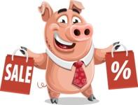 Pig with a Tie Cartoon Vector Character AKA Smokey Hans - Sale 2