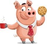 Pig with a Tie Cartoon Vector Character AKA Smokey Hans - Coffee