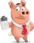 Pig with a Tie Cartoon Vector Character AKA Smokey Hans - Calculator