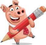 Pig with a Tie Cartoon Vector Character AKA Smokey Hans - Pencil