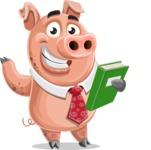 Pig with a Tie Cartoon Vector Character AKA Smokey Hans - Book 3