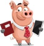 Pig with a Tie Cartoon Vector Character AKA Smokey Hans - Book and iPad