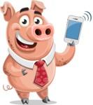 Pig with a Tie Cartoon Vector Character AKA Smokey Hans - iPhone