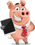 Pig with a Tie Cartoon Vector Character AKA Smokey Hans - iPad 1