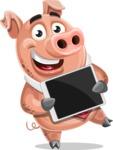 Pig with a Tie Cartoon Vector Character AKA Smokey Hans - iPad 2