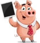 Pig with a Tie Cartoon Vector Character AKA Smokey Hans - iPad 3