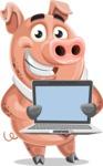 Pig with a Tie Cartoon Vector Character AKA Smokey Hans - Laptop 2