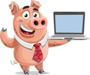 Pig with a Tie Cartoon Vector Character AKA Smokey Hans - Laptop 3