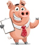 Pig with a Tie Cartoon Vector Character AKA Smokey Hans - Notepad 1