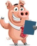 Pig with a Tie Cartoon Vector Character AKA Smokey Hans - Notepad 2