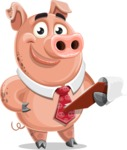 Pig with a Tie Cartoon Vector Character AKA Smokey Hans - Notepad 3
