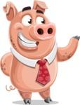 Pig with a Tie Cartoon Vector Character AKA Smokey Hans - Showcase 2