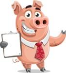 Pig with a Tie Cartoon Vector Character AKA Smokey Hans - Notepad 4