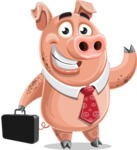 Pig with a Tie Cartoon Vector Character AKA Smokey Hans - Briefcase 1
