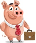 Pig with a Tie Cartoon Vector Character AKA Smokey Hans - Briefcase 2