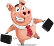 Pig with a Tie Cartoon Vector Character AKA Smokey Hans - Briefcase 3