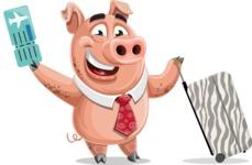 Pig with a Tie Cartoon Vector Character AKA Smokey Hans - Travel 1