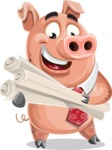 Pig with a Tie Cartoon Vector Character AKA Smokey Hans - Plans
