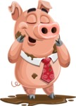 Pig with a Tie Cartoon Vector Character AKA Smokey Hans - Mud