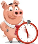Pig with a Tie Cartoon Vector Character AKA Smokey Hans - Time is Yours