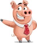 Pig with a Tie Cartoon Vector Character AKA Smokey Hans - Show