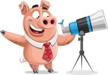 Pig with a Tie Cartoon Vector Character AKA Smokey Hans - Telescope