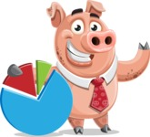 Pig with a Tie Cartoon Vector Character AKA Smokey Hans - Chart