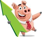 Pig with a Tie Cartoon Vector Character AKA Smokey Hans - Pointer 1