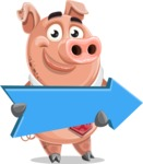 Pig with a Tie Cartoon Vector Character AKA Smokey Hans - Pointer 2