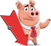 Pig with a Tie Cartoon Vector Character AKA Smokey Hans - Pointer 3