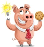 Pig with a Tie Cartoon Vector Character AKA Smokey Hans - Idea 1