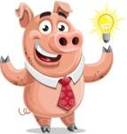 Pig with a Tie Cartoon Vector Character AKA Smokey Hans - Idea 2