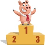 Pig with a Tie Cartoon Vector Character AKA Smokey Hans - On Top