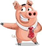 Pig with a Tie Cartoon Vector Character AKA Smokey Hans - Show 2